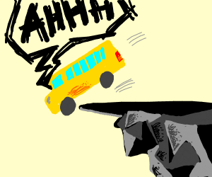 School bus driving off of cliff