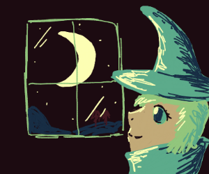 witch looking in a window at night