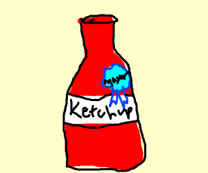 A ketchup bottle labeled as mayor.