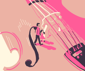 Walking with your daughter across a cello