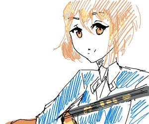 Anime girl playing guitar