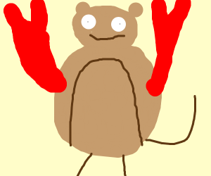 A bear with lobster claws and tail