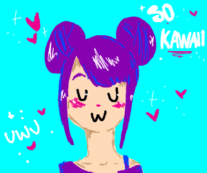 kawaii purple haired anime gurl uwu uwu