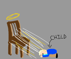 child worships chair