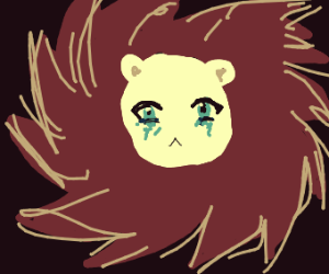 crying girl with lion mane