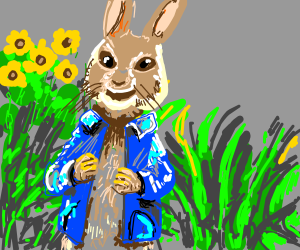 Well dressed bunny in a meadow