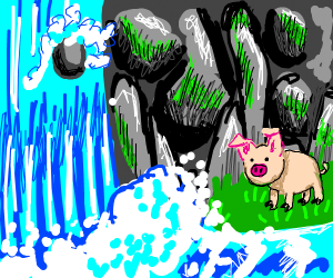 angel pig next to a waterfall
