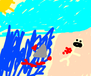 A bloody shark attack on shore of beach (day)