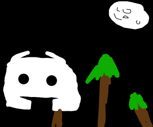 Discord logo creature near a forest at night