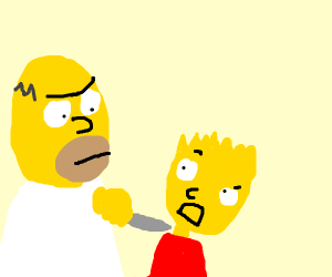 Homer holding a knife to Bart