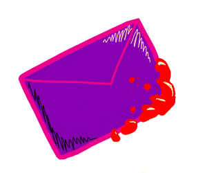 purple envelope with blood