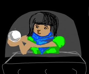 Fortune teller and her crystal ball