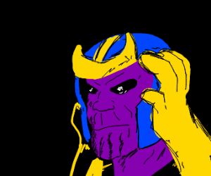 Thanos wearing his helmet