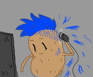 A potato with blue hair being shaved