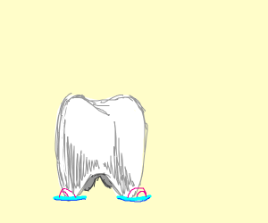 a tooth that has shoes on