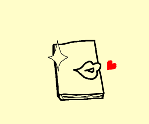 A shiny book blowing a kiss
