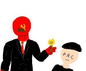 Father USSR offers a flower to child PRC