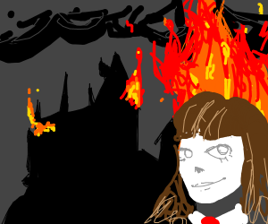 Hermione in front of the burning Hogwarts