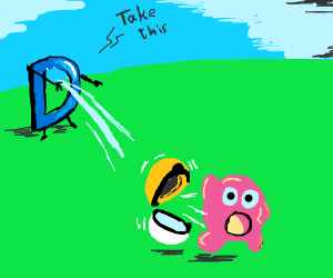 Drawception is shooting Kirby!