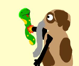 weird elephant dog thingy shooting snake