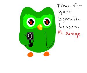 learn spanish or Duolingo owl shoots you