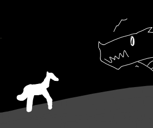 great horse scares mighty dragon away
