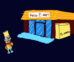 Bart going to the kwick-e-mart