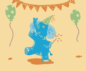 A celebrating elephant