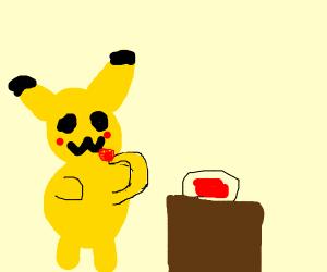 pikachu eats blood