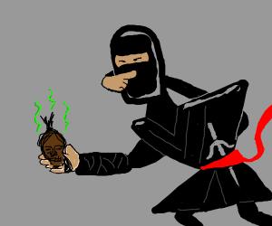 ninja w/ severed pygmy head