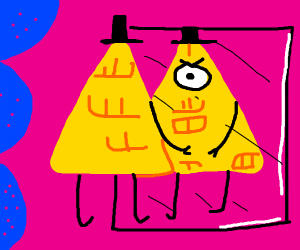Bill Cipher looking in a mirror