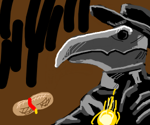 Plague doctor with his pet peanut