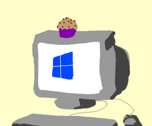 pc with cupcake on top