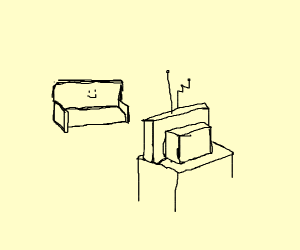 The couch watches TV