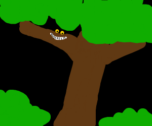cheshire cat invisible on a tree