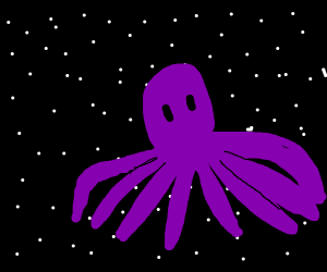 Giant Purple Octopus flying through space