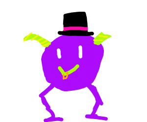 purple monster with a top hat