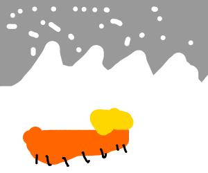 trump caterpillar in a snowstorm
