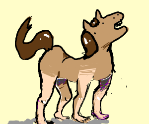 Horse with way too realistic human legs