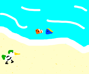 Duck on the beach looking at Marlon and dory