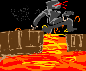 Robocop jumping over Lava