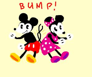 Mickey and Minnie butt bump