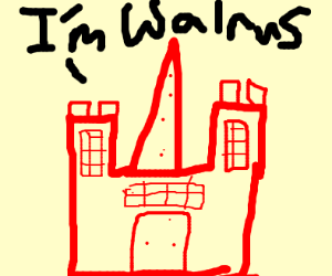 """A red castle saying """"I AM THE WALRUS"""""""