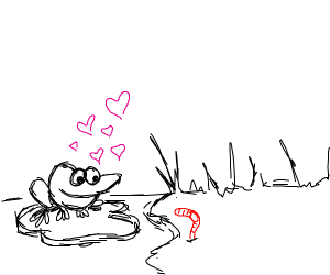 a frog in love with a red worm