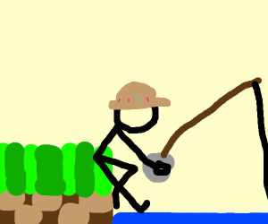 fishing on a green hill