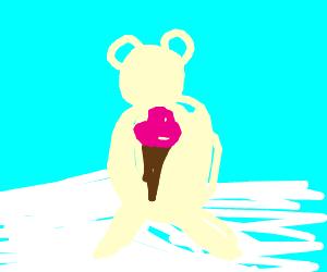 polar bear with ice cream