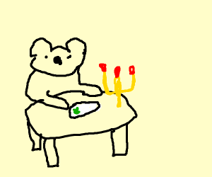 a bear going to a fancy dinner place