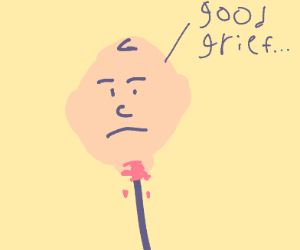 charlie brown's head on a stick