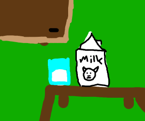 A brick of milk next to a glass of milk