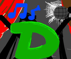 Green D singing